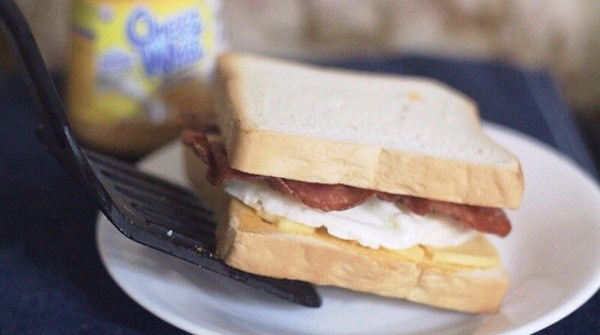 Cheez Whiz Bacon Sandwich