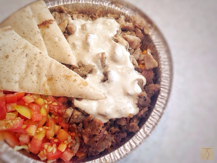 Chicken and Gyro over rice