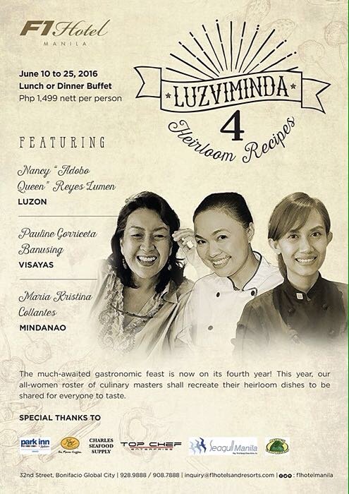 F1 Hotel Manila - Luzviminda 4 - Heirloom Recipes