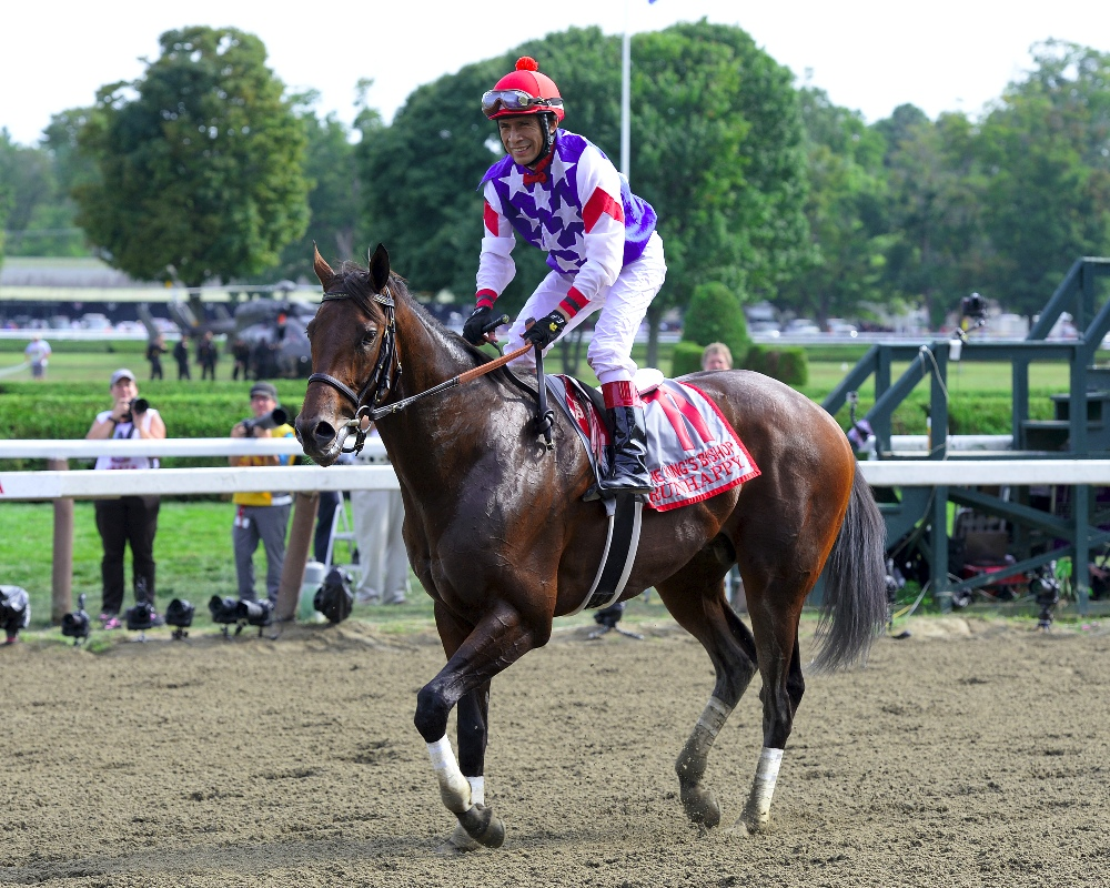 Runhappy Winning the 2015 King's Bishop Stakes - Photo by NYRA/Coglianese Photos/Lauren King