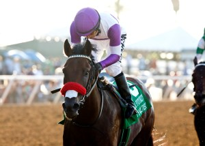 Nyquist cruising to the finish line in the Del Mar Futurity © BENOIT PHOTO