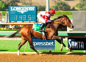Songbird scoring a decisive victory in the 2015 Chandelier Stakes (gr. I) at Santa Anita - © BENOIT PHOTO