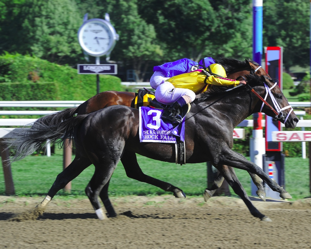 Rock Fall winning the Alfred G. Vanderbilt Handicap (gr. I) at Saratoga - Photo by NYRA/Coglianese Photos