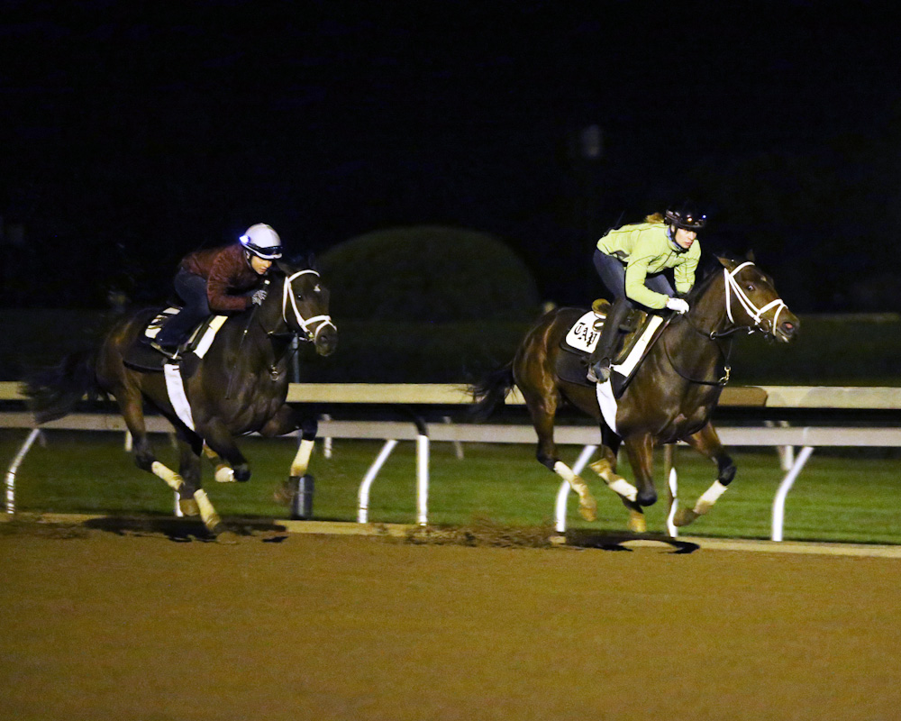 Rachel's Valentina (front) breezing in company with Sweet Ella - Keeneland Photo