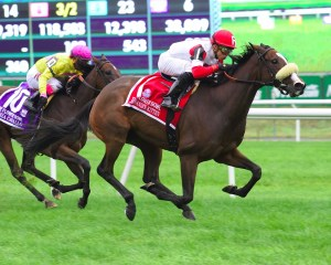 Stephanie's Kitten unleashes a big finish to win the Flower Bowl Stakes (gr. I) at Belmont Park - Photo by NYRA/Coglianese Photos