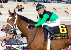 Jockey Mike Smith gives The Pizza Man a pat on the neck after winning the 2015 Hollywood Turf Cup (gr. II) at Del Mar - ©Benoit Photo