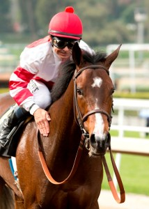 Jockey Mike Smith gives Songbird a pat on the neck after winning the Santa Ysabel Stakes (gr. III) in spectacular fashion at Santa Anita - © Benoit Photo