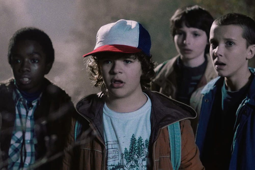 Dustin, Mike, Lucas, Eleven in Stranger Things