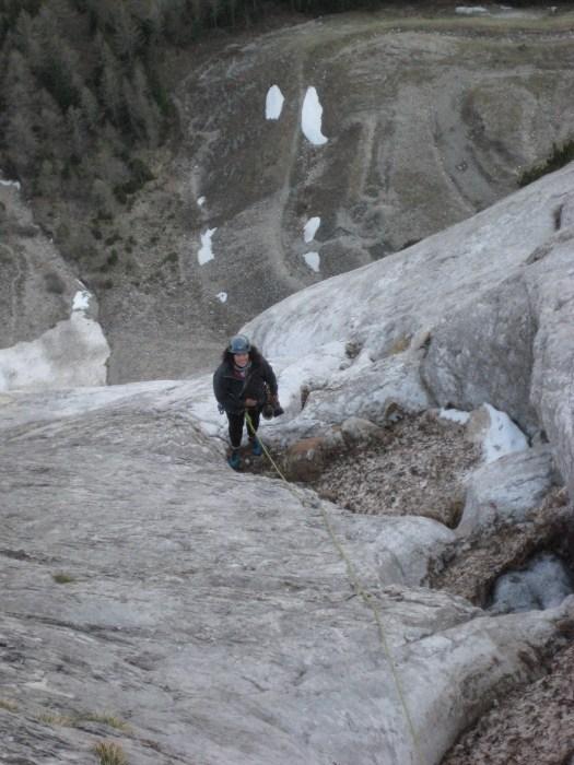 Sally near the top of amone slab