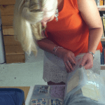 selecting stamps for the typed letter