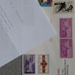 typed letter and envelope