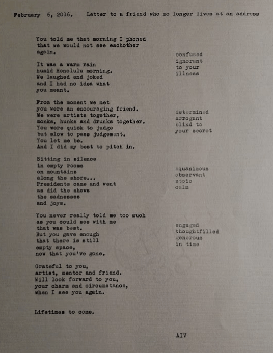 hand typed letter poem to friend
