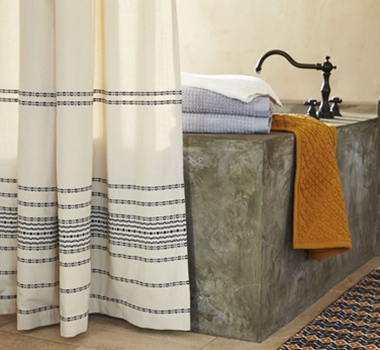 coyuchi organic cotton rippled stripe shower curtain