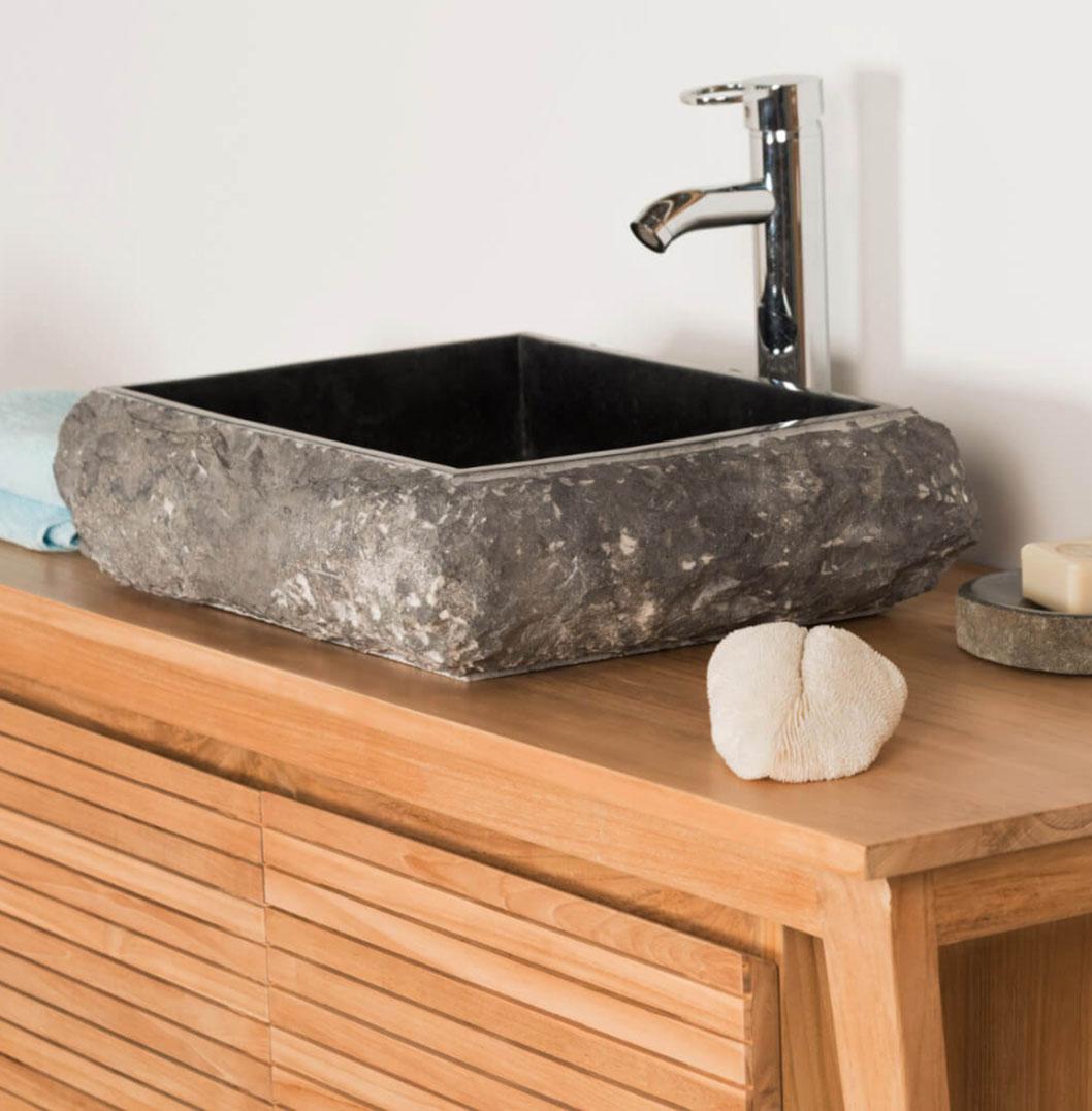 black rectangular stone sink with hewn exterior 50 x 40 x 12 5cm