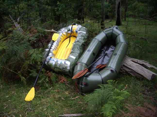 Faux and real packraft, top view after use.