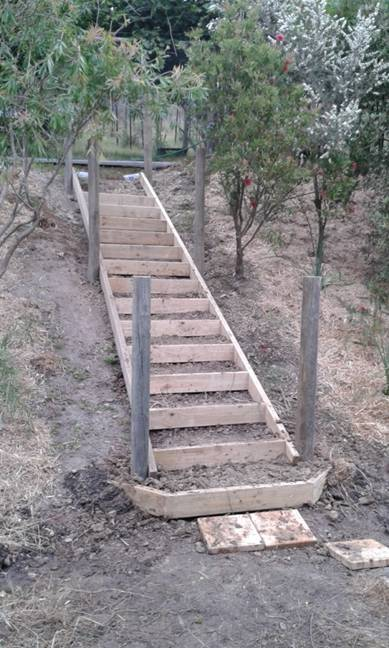 New steps to the old hound yards.