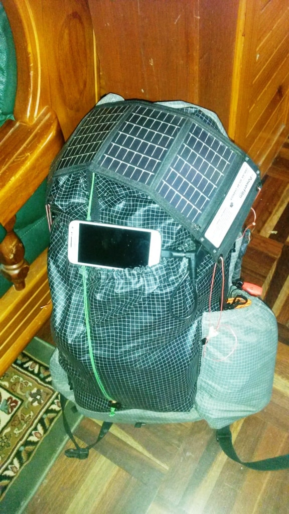 Powerfilm USB +AA Solar Charger on Pack