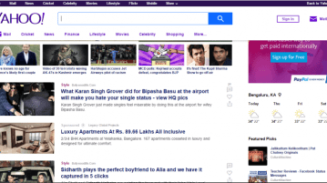 Yahoo India Homepage gets a new look