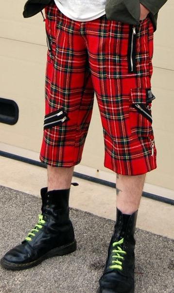 Tiger of London Mens Multi Tartan  Zip Bondage Shorts Punk Rock