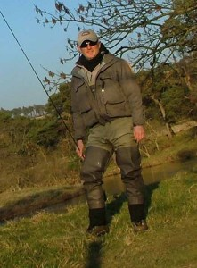 On the river bank with the Simms Headwaters waders and Freestone Boots