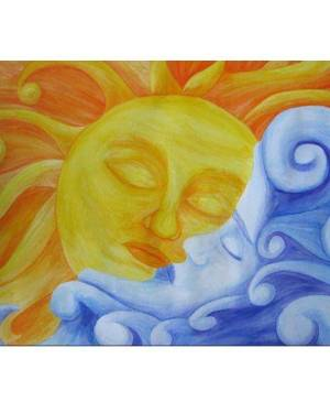 Card - Connection - Sun And Moon 5x7 Inch Folded Greeting Card Of Watercolor Pencil Fine Art