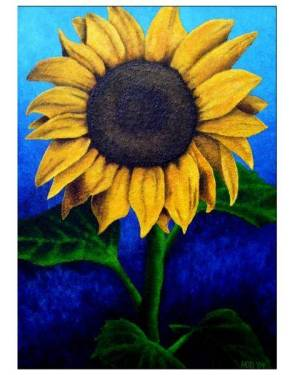 Card - Face The Sun - Sunflower 5x7 Inch Folded Greeting Cards Of Acrylic Painting Fine Art