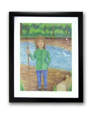 Fine Art, Prints, And Products - Diana In The Woods - Little Girl Watercolor Pencil Original Art And Printed Products
