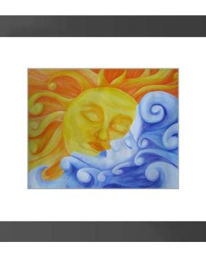 Framed Print - Connection - Sun And Moon Framed Print Of Watercolor Pencil Fine Art