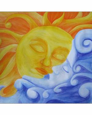 Giclee Print - Connection - Sun And Moon Giclee Print Of Watercolor Pencil Fine Art