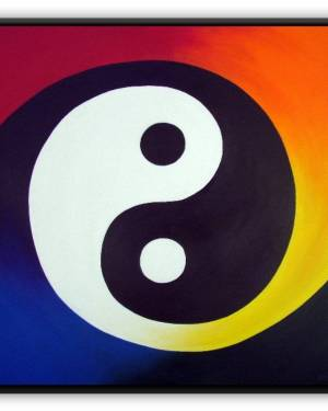 Metal Magnet - Balance - Metal Magnet Of Rainbow Yin Yang Acrylic Paint Fine Art