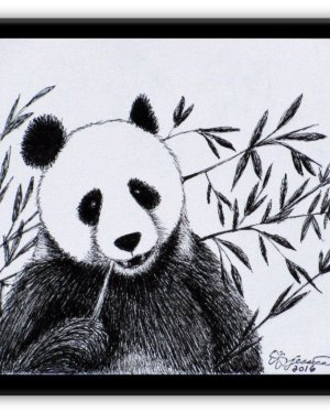 Metal Magnet - Panda - Metal Magnet Of Marker Fine Art Drawing