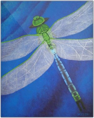 Metal Print - Resilience - Dragonfly Metal Print Of Acrylic Painting Fine Art