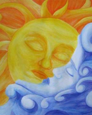 Poster - Connection - Sun And Moon Poster Of Watercolor Pencil Fine Art
