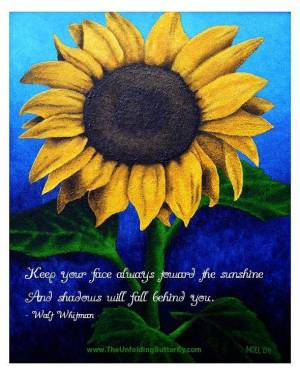 Poster - Face The Sun With Walt Whitman Quote - Poster Of Sunflower Acrylic Painting Fine Art