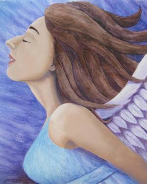 ProPrint - Air Goddess Flying - Professional Prints Of Angel Acrylic Paint And Watercolor Pencil Fine Art