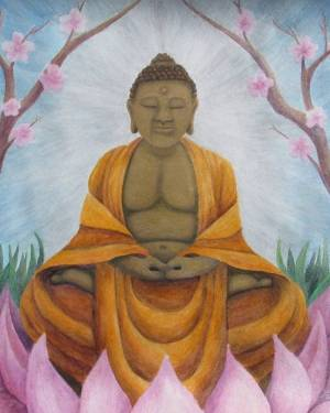 ProPrint - Buddha - Professional Prints Of Acrylic Paint And Watercolor Pencil Fine Art