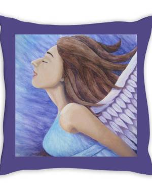 Throw Pillow - Air Goddess Flying - Throw Pillow Of Angel Acrylic Paint And Watercolor Pencil Fine Art