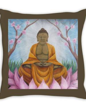 Throw Pillow - Buddha - Throw Pillow Of Acrylic Paint And Watercolor Pencil Fine Art
