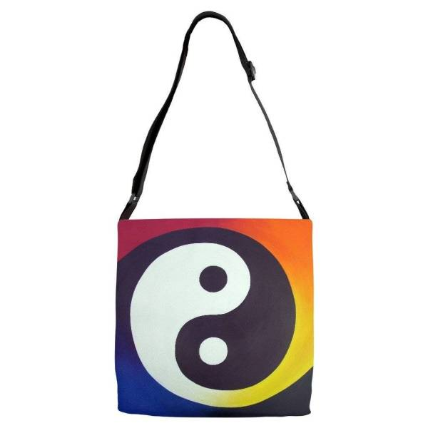 Tote - Balance - Adjustable Strap All Over Tote Of Rainbow Yin Yang Acrylic Paint Fine Art