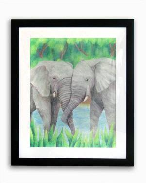 Totem Animal Art - Elephant Couple - Totem Animal Watercolor Pencil Original Art And Printed Products