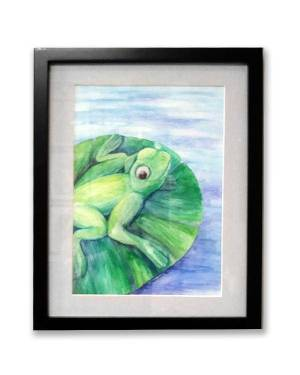 Watercolor Pencil Original Art - Cleanse Replenish Adapt - Watercolor Pencil Frog Fine Art Original