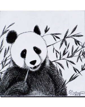 Wrapped Canvas - Panda - Wrapped Canvas Of Marker Fine Art Drawing