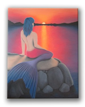 Mermaid Watching the Sunset Acrylic Print of Acrylic Paint Fine Art