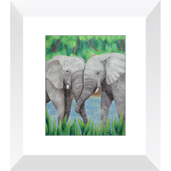 Elephant Couple – Framed Print of Watercolor Pencil Mammal Fine Art
