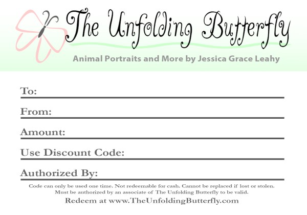 Gift Certificate for The Unfolding Butterfly Sent USPS
