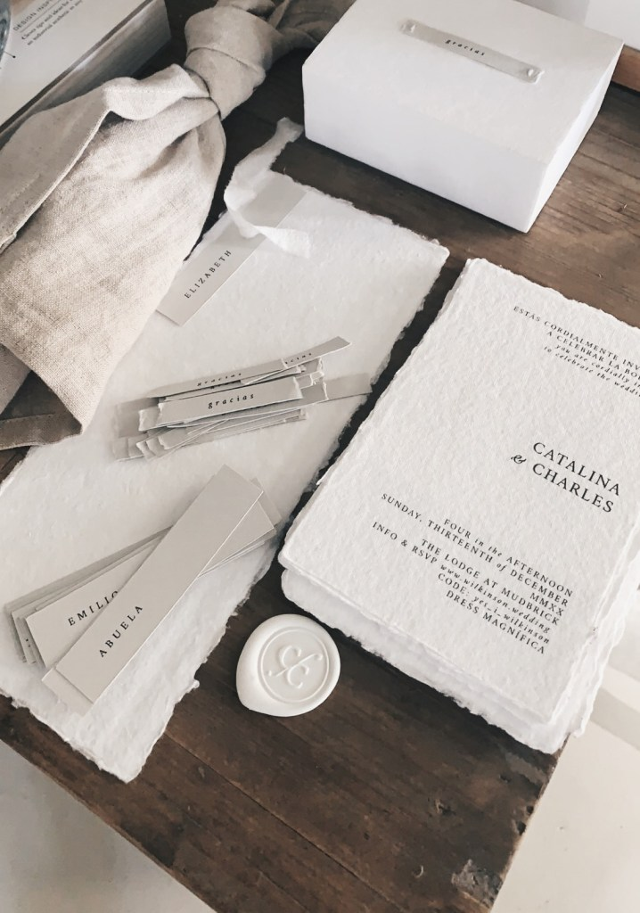 Catalina-and-Charles-Wilkinson-Wedding-Stationery-White-Natural-Minimalist-Spanish-Inspired-White-Wax-Seals-Stampitude-Cotton-Rag-Paper-Tono-&-Co-Frayed-Silk-Feather-&-Stone-Hand-Ties-Linen-Napkins-Neutrals