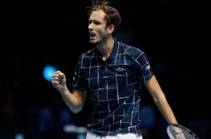 Medvedev celebrates his Nitto ATP Finals win over Djokovic. Credit: ATP Tour