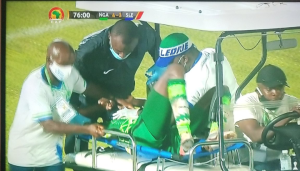 Victor Osimhen being stretchered out during the AFCON qualifier match against Sierra Leone.