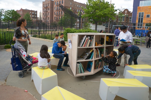 A book festival at a park in Hunts Point, Bronx, co-sponsored with Hunts Point Alliance for Children: https://www.theuniproject.org/2014/06/hunts-point/