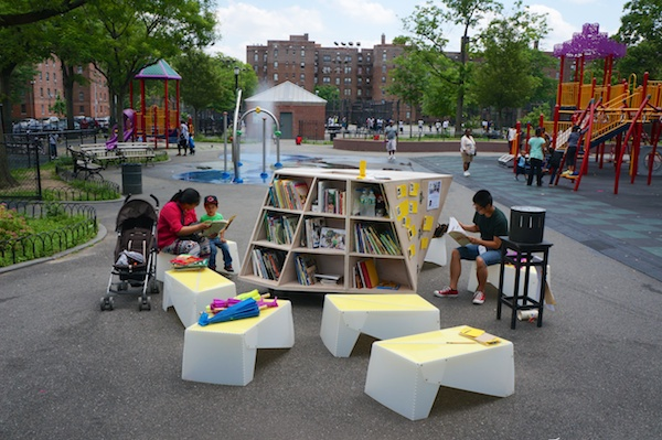 Creating a reading room in a Flatbush playground